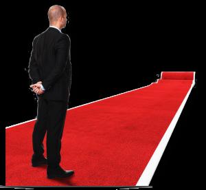 roter teppich mit mann